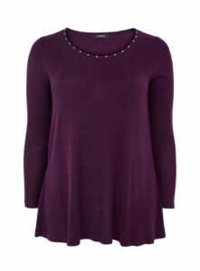 Purple Swing Stud Neck Jumper, Purple
