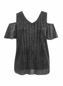 Silver Sparkle Pleated Cold Shoulder Top, Silver