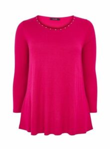 Pink Studded Scoop Neck Jumper, Others
