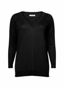 Black Pointelle V-Neck Jumper, Black