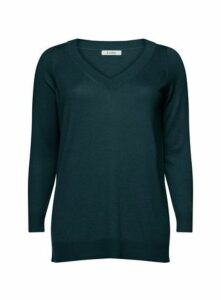 Teal Blue Pointelle V-Neck Jumper, Teal