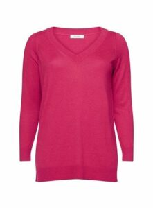 Pink Pointelle V-Neck Jumper, Hot Pink