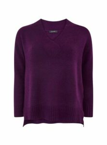 Purple V-Neck Jumper, Purple