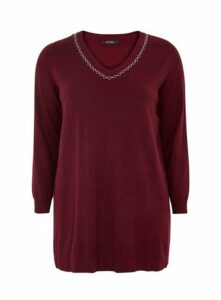Berry Chain Trim Detail Tunic Jumper, Wine