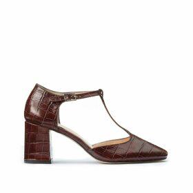 Crocodile Style Leather Heels
