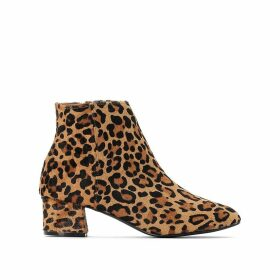 Leather Textured Leopard Print Ankle Boots