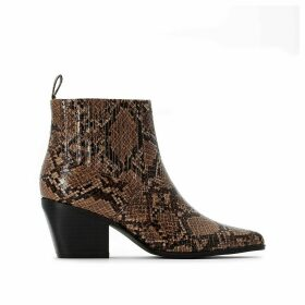 Wide Fit Western Leather Boots in Snake Print