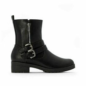 Biker Boots with Straps on Front