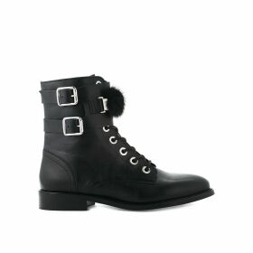 Fur Leather Boot with Buckles
