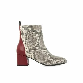 Neuburg Heeled Leather Boots in Snake Print