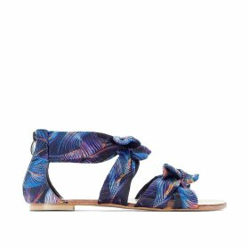 Flat Sandals in Printed Fabric