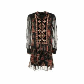 Short Peasant Floral Dress with High Neck and Long Transparent Sleeves
