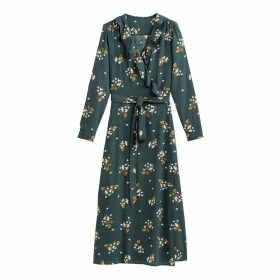Floral Print Wrapover Dress with Long Sleeves and Ruffles