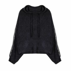 Fine Knit Hoodie with Sequin Sleeves