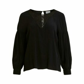 Laced Blouse with Dip Hem and Long Sleeves