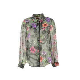 Floral Buttoned Blouse with Shirt-Collar