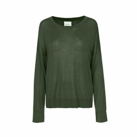 Cotton/Silk Mix Jumper with Scoop-Neck