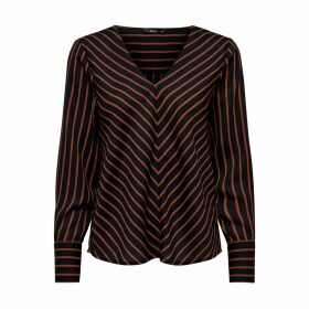 Metallic Striped Blouse with V-Neck and Long Sleeves