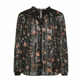 Ruffled Floral Print Blouse with Long Sleeves