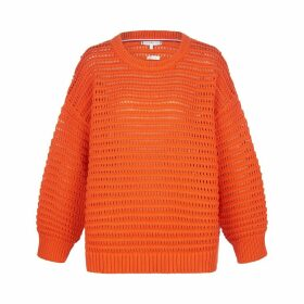 Cotton Mix Openwork Jumper with Crew-Neck