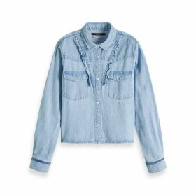 Ruffled Denim Shirt with Long Sleeves