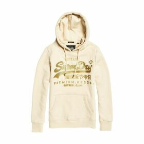 Vintage Logo Premium Luxe Slip-On Hoodie in Cotton Mix with Pocket and Metallic Logo
