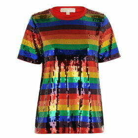 MICHAEL Michael Kors Sequin Rainbow Stripe T Shirt