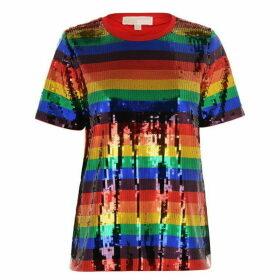 MICHAEL Michael Kors Sequin Rainbow Stripe T Shirt