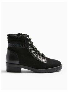 Womens Brogan Black Basic Lace Up Hiker Boots, BLACK