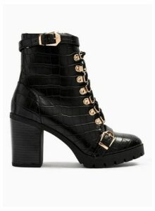 Womens Limited Edition Brody Black Crocodile Design Faux Fur Trim Hiker Boots, BLACK