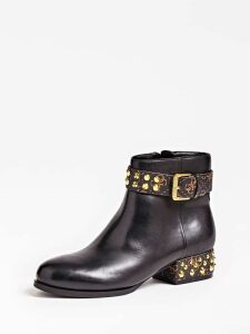 Guess Aelani Leather Low Boot Studs Logo