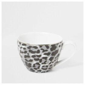 River Island Grey leopard print bowl mug