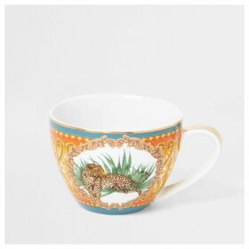 River Island Orange leopard printed bowl mug