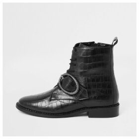 River Island Womens Black croc circle buckle lace-up boots