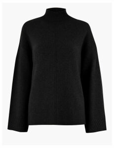 M&S Collection Cashmere Funnel Neck Relaxed Fit Jumper