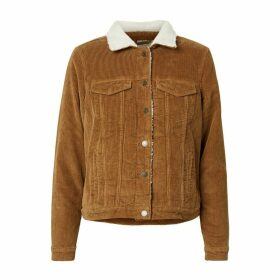Corduroy Jacket with Sherpa Collar and Pockets