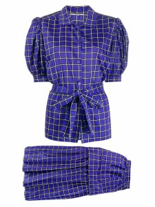 Yves Saint Laurent Pre-Owned 1980s checked blouse and skirt - Blue