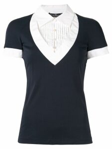 Salvatore Ferragamo Pre-Owned pleated detail layered top - Blue