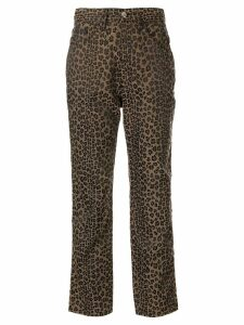 Fendi Pre-Owned leopard printed straight trousers - Brown