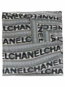 Chanel Pre-Owned logo sheer scarf - Grey