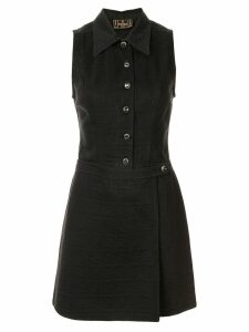 Fendi Pre-Owned apron-style detail A-line dress - Black