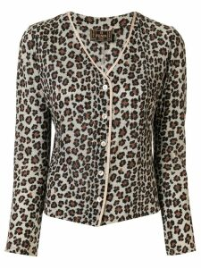 Fendi Pre-Owned leopard printed slim-fit cardigan - Brown