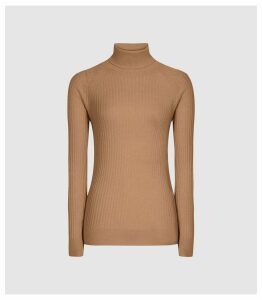 Reiss Opal - Wool Alpaca Blend Rollneck in Camel, Womens, Size XXL