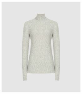 Reiss Jamie - Boucle Rollneck Jumper in Grey, Womens, Size XXL