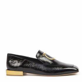 Salvatore Ferragamo Black Lana Gancio Leather Loafer