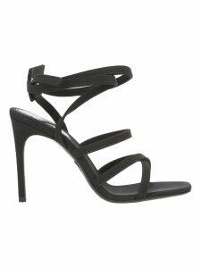 Off White Satin Zip Tie Sandal