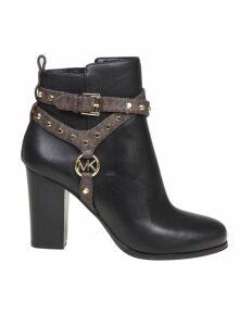 Michael Kors Preston Black Leather Ankle Boot
