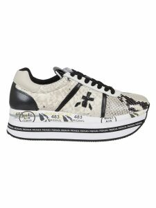 Bicoloured Croco Print Leather Sneakers