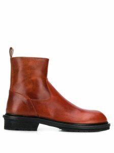 Ann Demeulemeester Country round-toe boots - Red