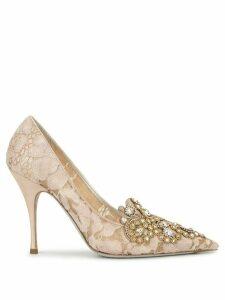 René Caovilla embellished lace pumps - Gold